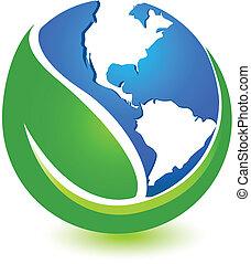 świat, projektować, zielony, logo