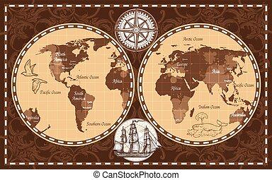 świat, retro, mapa