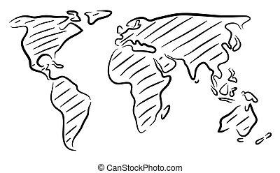 świat, rys, mapa