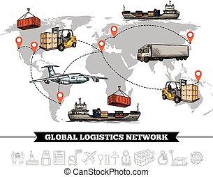 świat, sieć, logistyka, szablon
