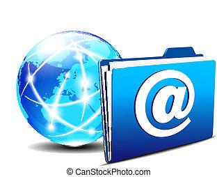 świat, skoroszyt, email, internet