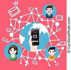 świat, smartphone, wysyłać, email kupowanie