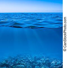 świat, spokój, jasny, odkryty, podwodny, powierzchnia, niebo, wciąż, morze polewają