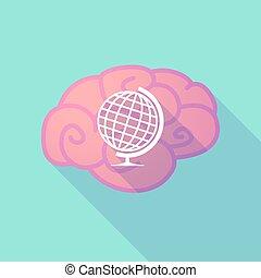 świat, stół, mózg, długi, kula, cień