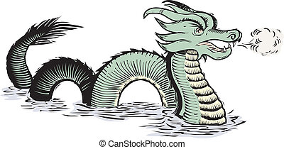 świat, stary, morski smok
