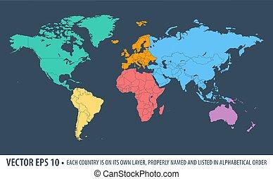świat, wektor, polityczny, mapa