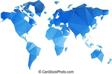 świat, wektor, trójkątny, rząd, mapa