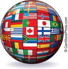 świat, wizerunek, wektor, bandery, globe.