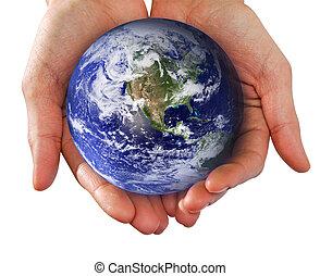 świat, wręczać dzierżawę, ludzkie ręki