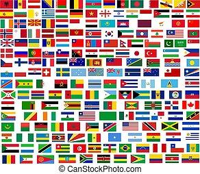 świat, wszystko, bandery, kraje