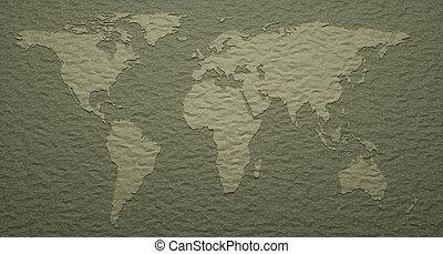 świat, wyryty, szczegóły, mapa