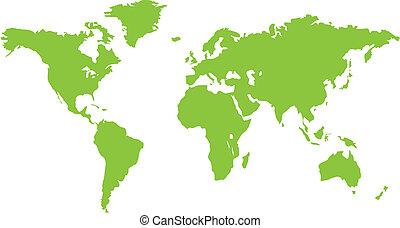 świat, zielony, kontynent, mapa
