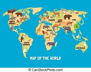 świat, zwierzęta, mapa