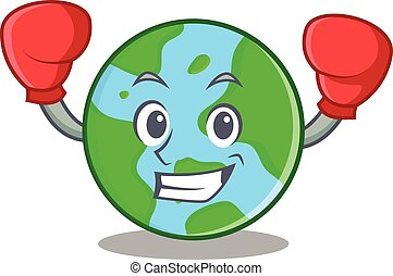 światowa kula, boks, litera, rysunek