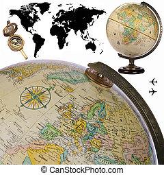 światowa kula, -, cutout, mapa