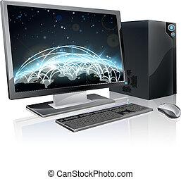 światowa kula, komputer, desktop
