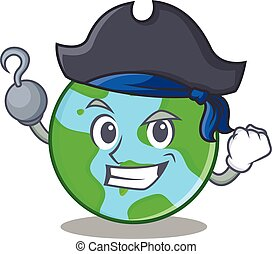światowa kula, litera, pirat, rysunek