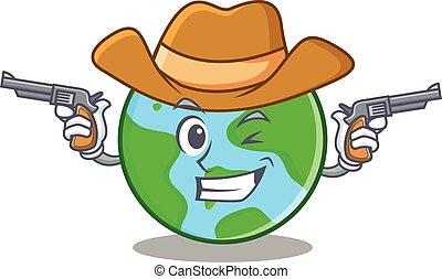 światowa kula, litera, rysunek, kowboj