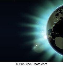 światowa kula, pojęcie, zaćmienie, wschód słońca