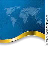 światowa mapa, broszura, błękitny, halftone, handlowy, projektować
