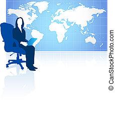 światowa mapa, kobieta interesu