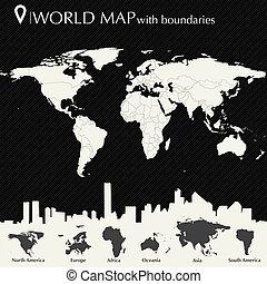światowa mapa, kraje