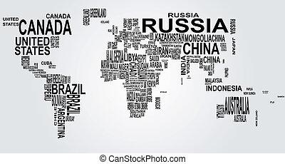 światowa mapa, nazwa, kraj
