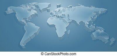 światowa mapa, tło, 3d