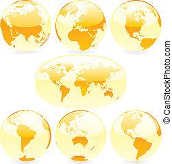 światowa mapa, wektor, kule, barwny, ilustracja