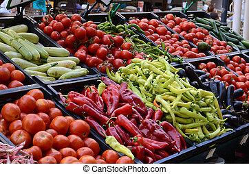 świeża zielenina, organiczny, targ, gospodarze