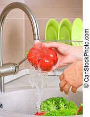 świeża zielenina, washing., jadło., zdrowy, kuchnia