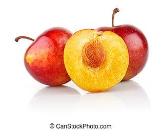 świeży, śliwka, cięty, owoce