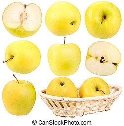 świeży, abstrakcyjny, komplet, jabłka, żółty