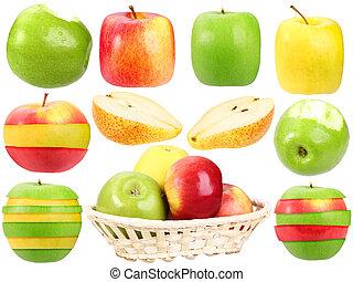 świeży, abstrakcyjny, komplet, obcy, owoce