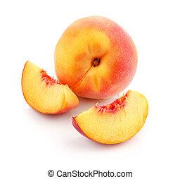 świeży, cięty, brzoskwinia, owoce