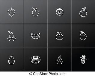 świeży, ikony, -, metaliczny, owoce