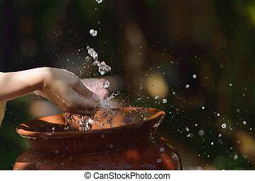 świeży, kobieta, bryzgając, siła robocza, woda