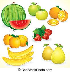 świeży, komplet, owoce