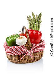 świeży, kosz, warzywa