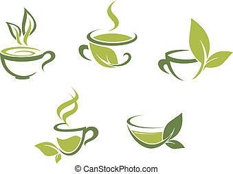 świeży, liście, zielona herbata