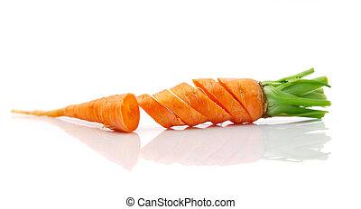 świeży, marchew, cięty, owoce
