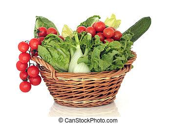 świeży, sałata, warzywa