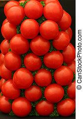 świeży, stóg, dojrzałe pomidory