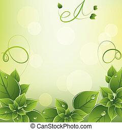 świeży, ułożyć, wektor, zielone listowie