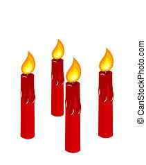 świece, nastanie, czerwony, płonący