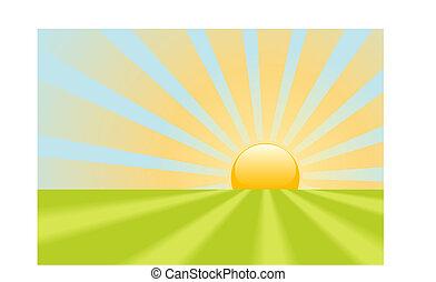 świecić, promienie, scena, żółty, jasny, ziemia, wschód słońca