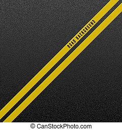 żółty, asphalt., asfalt, budowa, marking., abstrakcyjny, dwa, ilustracja, ziarnisty, tło., wektor, struktura, kreska, droga