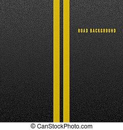 żółty, asphalt., asfalt, marking., abstrakcyjny, dwa, ilustracja, ziarnisty, tło., wektor, struktura, drogowa lina, budowa