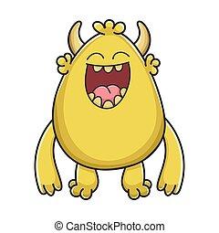 żółty, chochlik, śmiech, rysunek, potwór