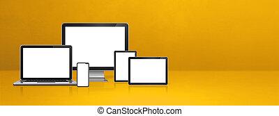 żółty, chorągiew, telefon, tabliczka, ruchomy, laptop, komputer, pc., cyfrowy